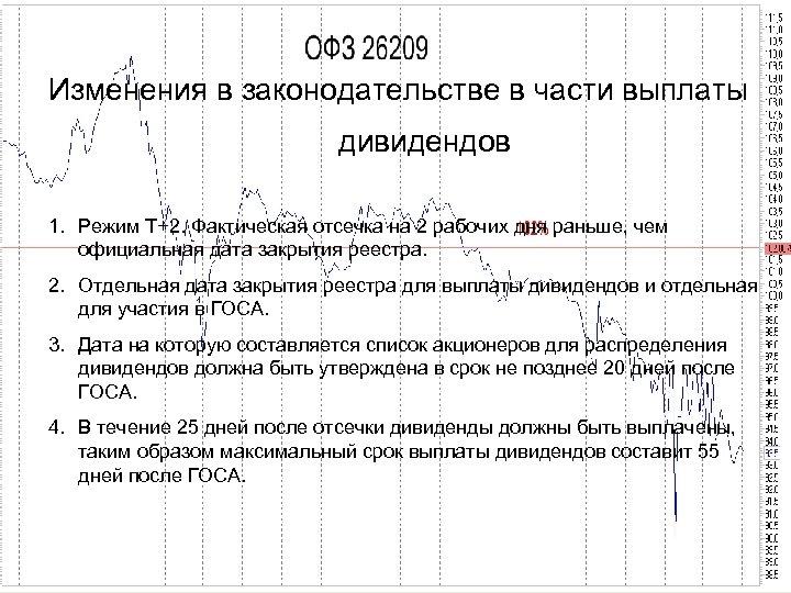 Изменения в законодательстве в части выплаты дивидендов 1. Режим Т+2. Фактическая отсечка на 2