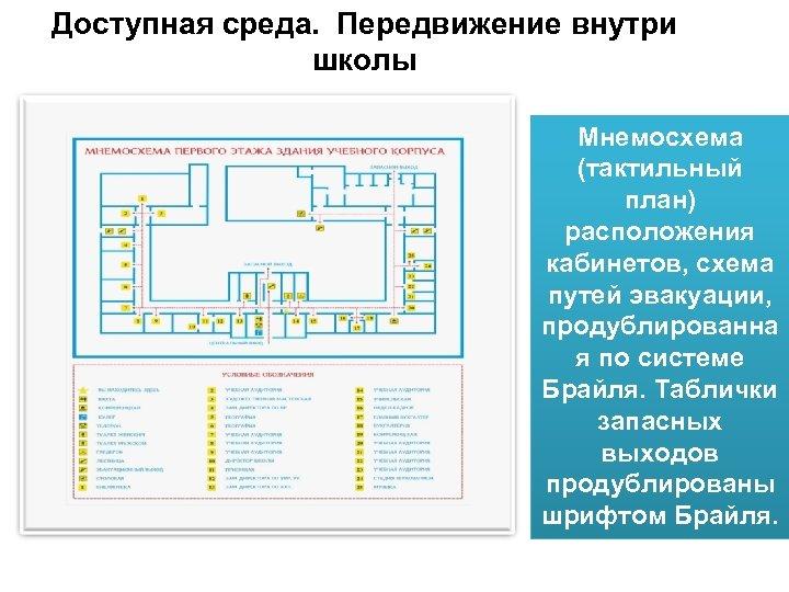 Доступная среда. Передвижение внутри школы Мнемосхема (тактильный план) расположения кабинетов, схема путей эвакуации, продублированна