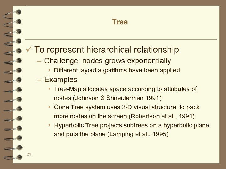 Tree ü To represent hierarchical relationship – Challenge: nodes grows exponentially • Different layout