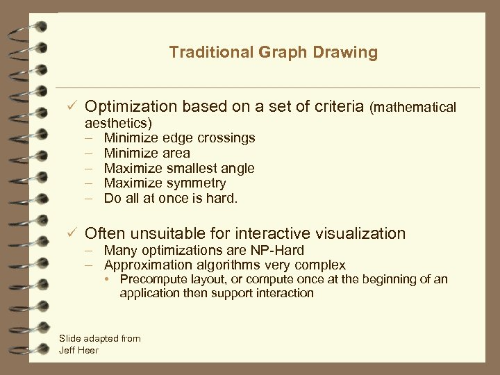 Traditional Graph Drawing ü Optimization based on a set of criteria (mathematical aesthetics) –