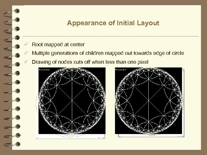Appearance of Initial Layout ü Root mapped at center ü Multiple generations of children
