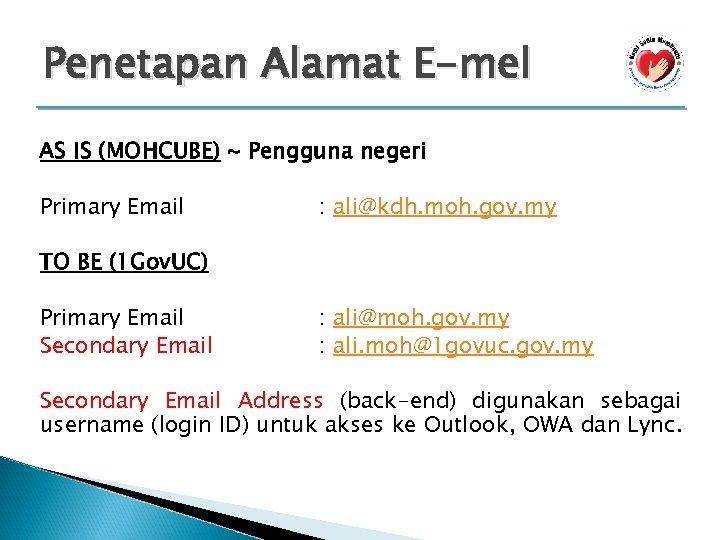 Penetapan Alamat E-mel AS IS (MOHCUBE) ~ Pengguna negeri Primary Email : ali@kdh. moh.