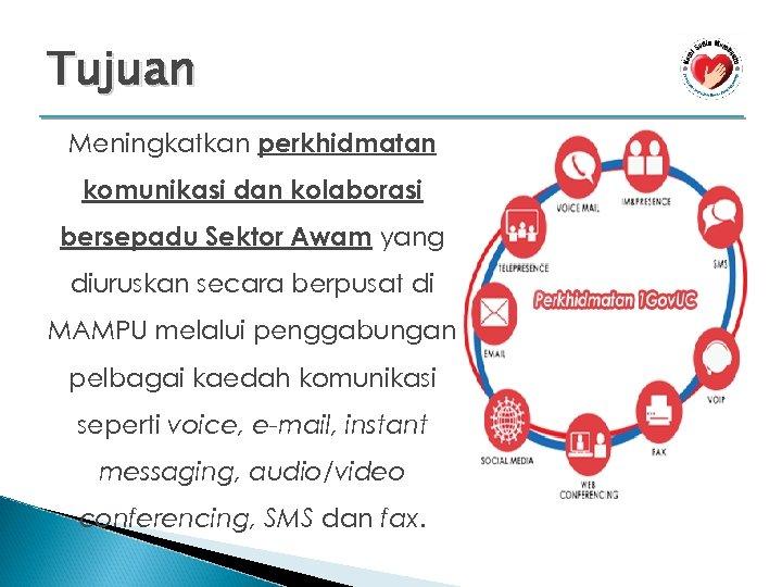 Tujuan Meningkatkan perkhidmatan komunikasi dan kolaborasi bersepadu Sektor Awam yang diuruskan secara berpusat di