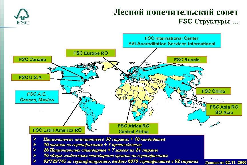 Лесной попечительский совет FSC Структуры … FSC International Center ASI-Accreditation Services International FSC Europe