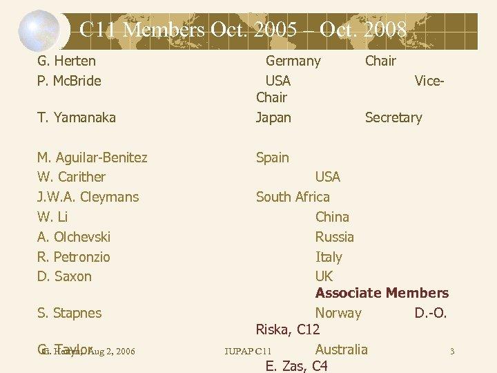 C 11 Members Oct. 2005 – Oct. 2008 G. Herten P. Mc. Bride T.