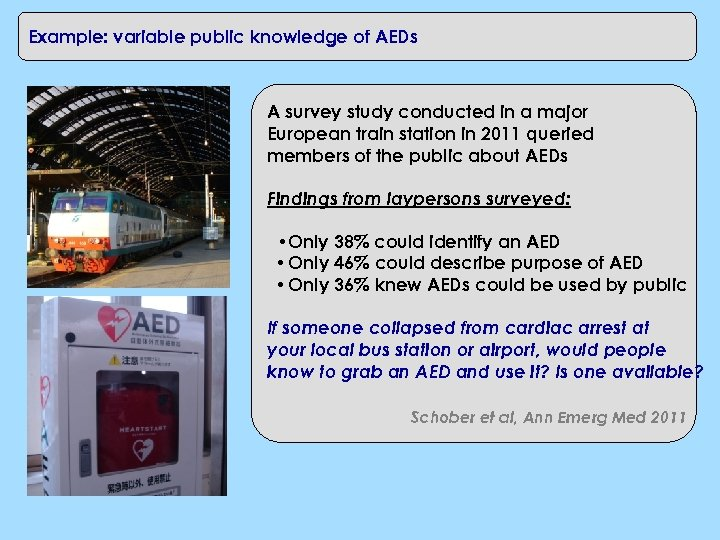 Example: variable public knowledge of AEDs A survey study conducted in a major European