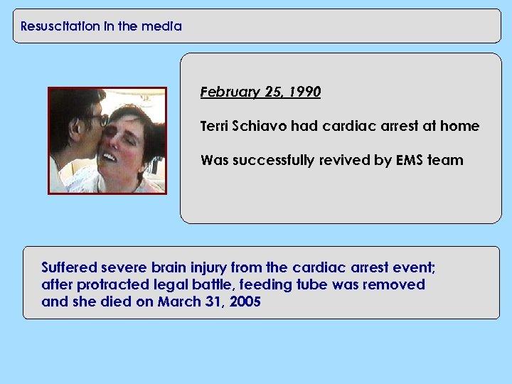 CPR in the workplace Resuscitation in the media February 25, 1990 Terri Schiavo had