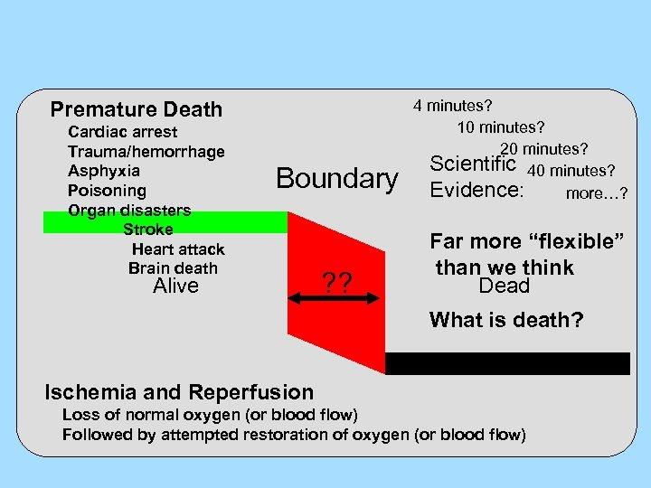 Premature Death Cardiac arrest Trauma/hemorrhage Asphyxia Poisoning Organ disasters Stroke Heart attack Brain death