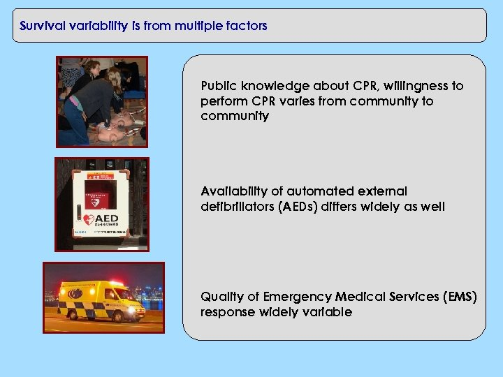 Survival variability is from multiple factors Public knowledge about CPR, willingness to perform CPR