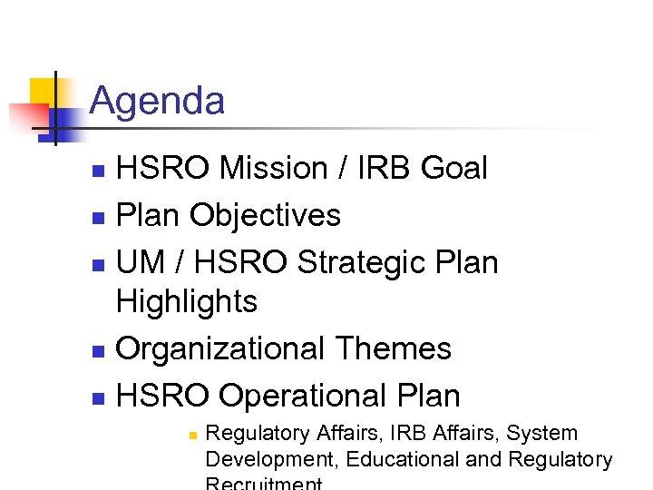 Agenda HSRO Mission / IRB Goal n Plan Objectives n UM / HSRO Strategic