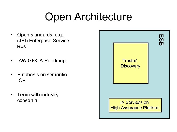 Open Architecture • IAW GIG IA Roadmap ESB • Open standards, e. g. ,