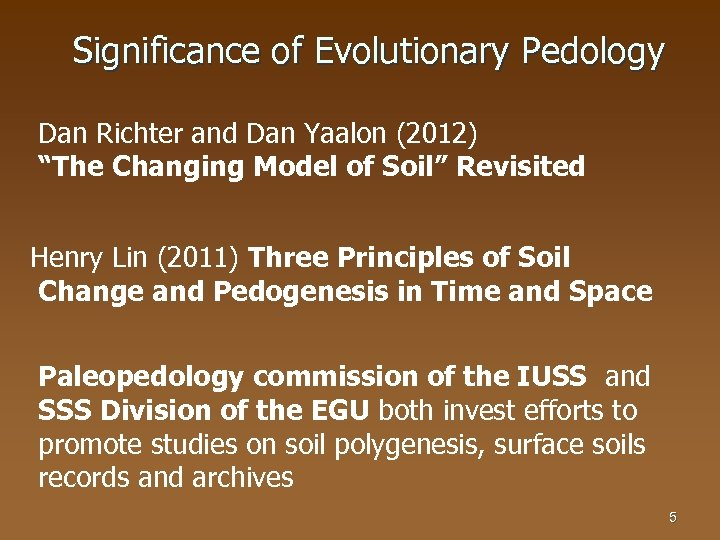 "Significance of Evolutionary Pedology Dan Richter and Dan Yaalon (2012) ""The Changing Model of"