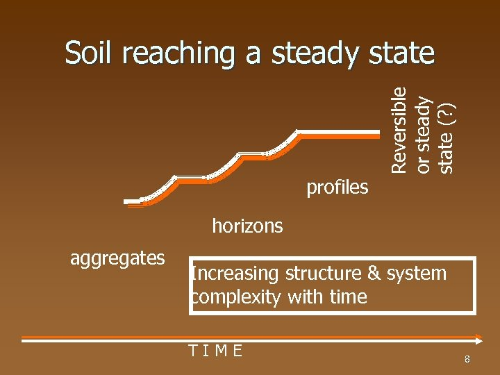 profiles Reversible or steady state (? ) Soil reaching a steady state horizons aggregates