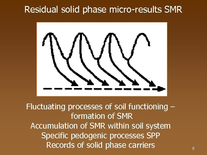 Residual solid phase micro-results SMR Fluctuating processes of soil functioning – formation of SMR