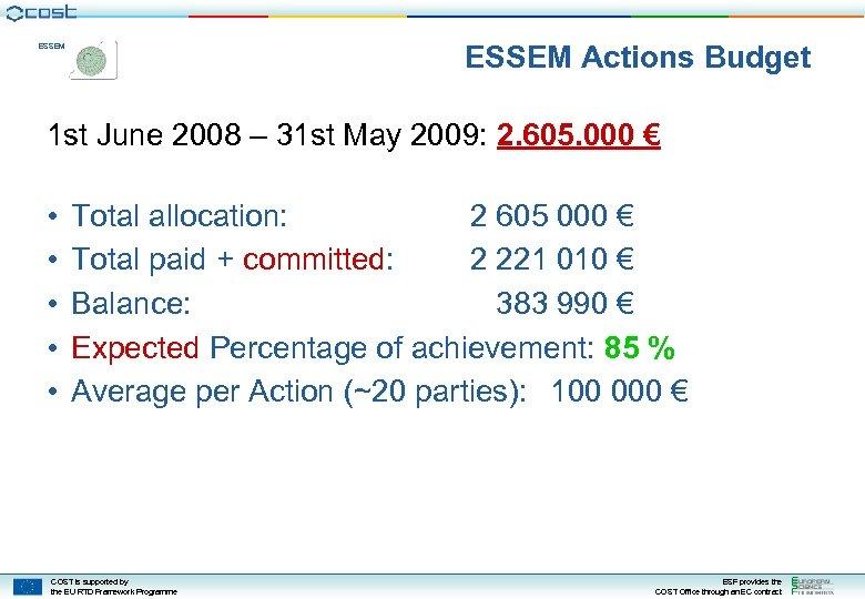 ESSEM Actions Budget ESSEM 1 st June 2008 – 31 st May 2009: 2.
