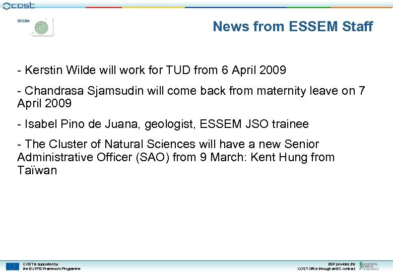 ESSEM News from ESSEM Staff - Kerstin Wilde will work for TUD from 6