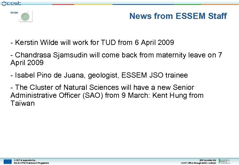 ESSEM News from ESSEM Staff - Kerstin Wilde will work for TUD from 6