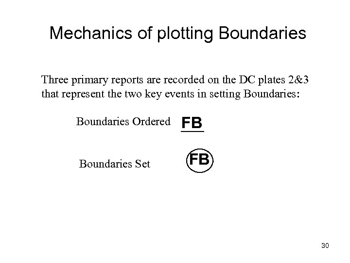 Mechanics of plotting Boundaries Three primary reports are recorded on the DC plates 2&3