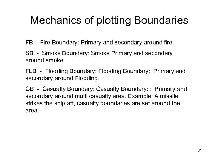 Mechanics of plotting Boundaries FB - Fire Boundary: Primary and secondary around fire. SB