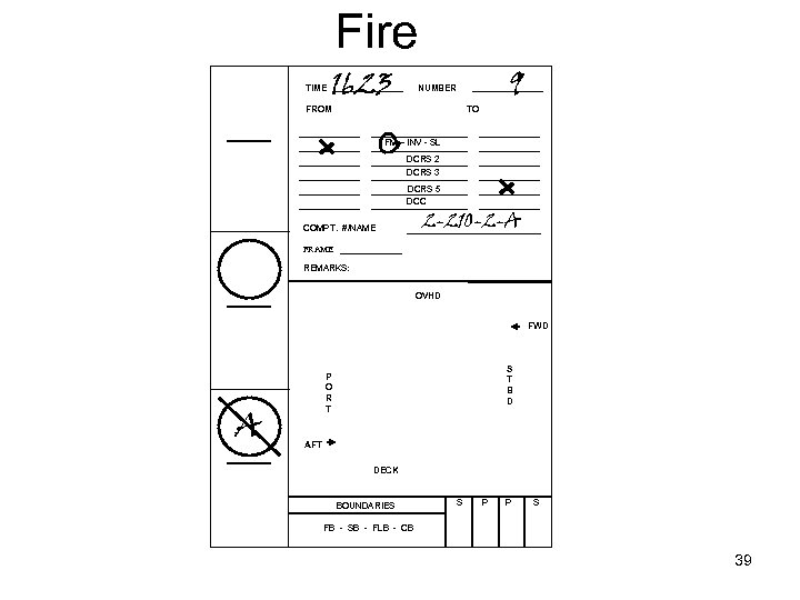 Fire TIME 1623 9 NUMBER FROM TO FM – INV - SL DCRS 2
