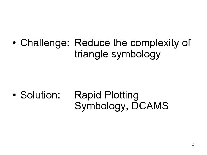 • Challenge: Reduce the complexity of triangle symbology • Solution: Rapid Plotting Symbology,