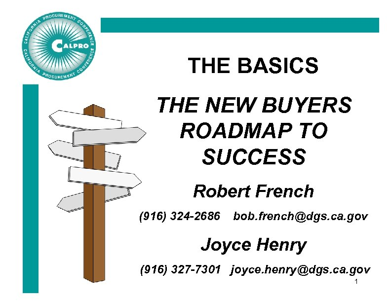 THE BASICS THE NEW BUYERS ROADMAP TO SUCCESS Robert French (916) 324 -2686 bob.