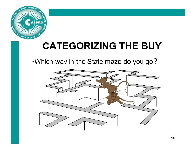 CATEGORIZING THE BUY • Which way in the State maze do you go? 10