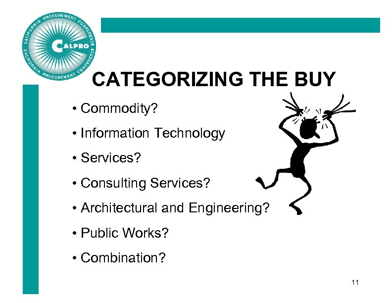 CATEGORIZING THE BUY • Commodity? • Information Technology • Services? • Consulting Services? •