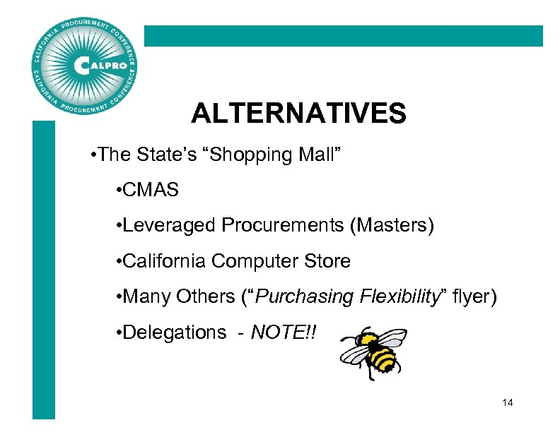 """ALTERNATIVES • The State's """"Shopping Mall"""" • CMAS • Leveraged Procurements (Masters) • California"""