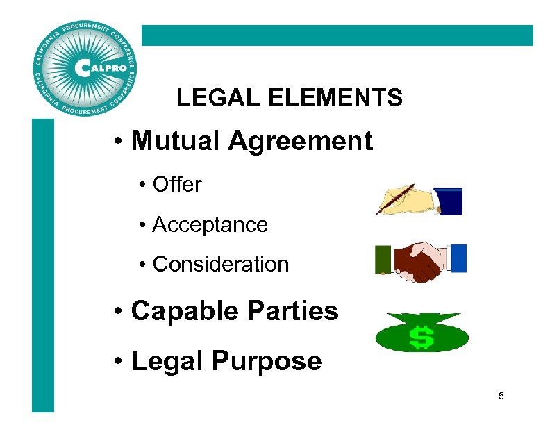LEGAL ELEMENTS • Mutual Agreement • Offer • Acceptance • Consideration • Capable Parties