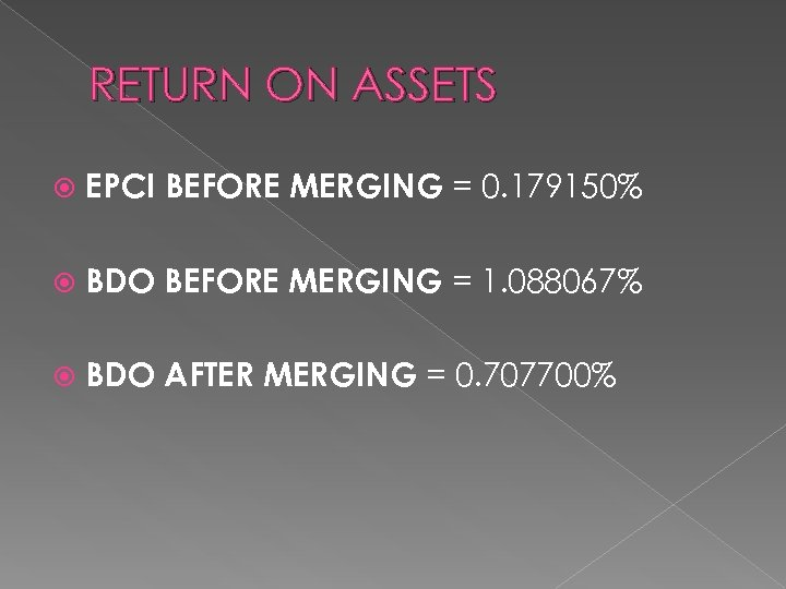 RETURN ON ASSETS EPCI BEFORE MERGING = 0. 179150% BDO BEFORE MERGING = 1.