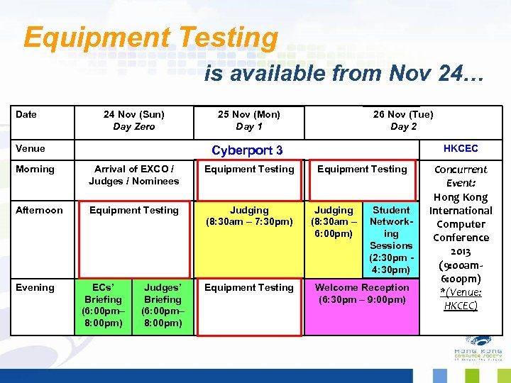 Equipment Testing is available from Nov 24… Date 24 Nov (Sun) Day Zero Venue