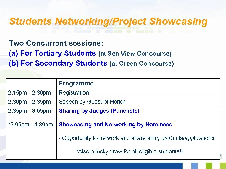 Students Networking/Project Showcasing Two Concurrent sessions: (a) For Tertiary Students (at Sea View Concourse)
