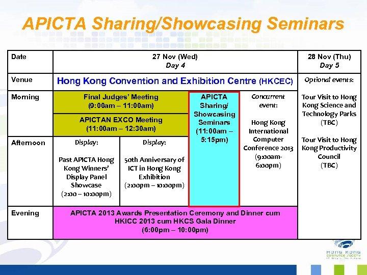 APICTA Sharing/Showcasing Seminars Date Venue Morning 27 Nov (Wed) Day 4 28 Nov (Thu)