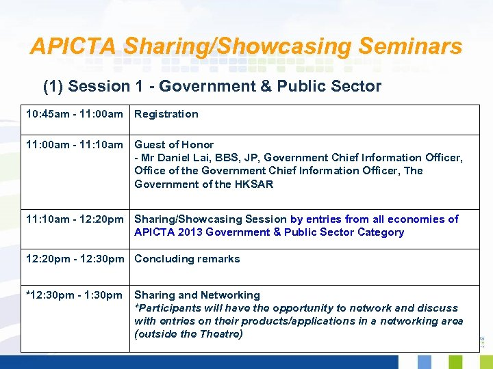 APICTA Sharing/Showcasing Seminars (1) Session 1 - Government & Public Sector 10: 45 am