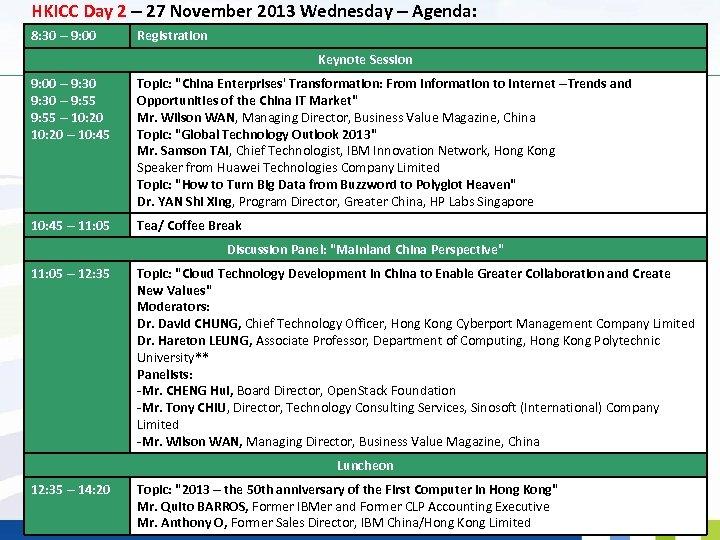HKICC Day 2 – 27 November 2013 Wednesday – Agenda: 8: 30 – 9: