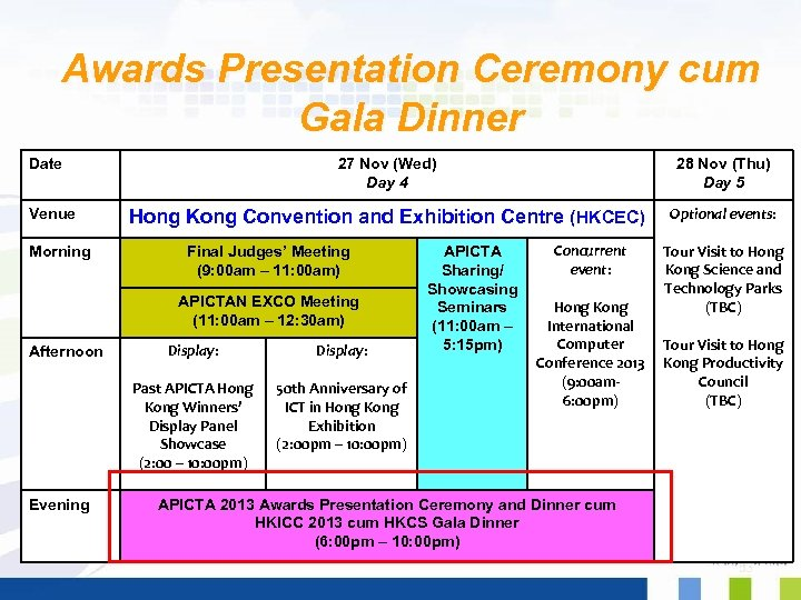 Awards Presentation Ceremony cum Gala Dinner Date Venue Morning 27 Nov (Wed) Day 4
