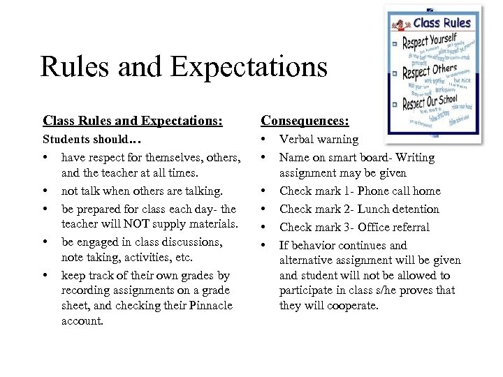 Rules and Expectations Class Rules and Expectations: Consequences: Students should… • have respect for