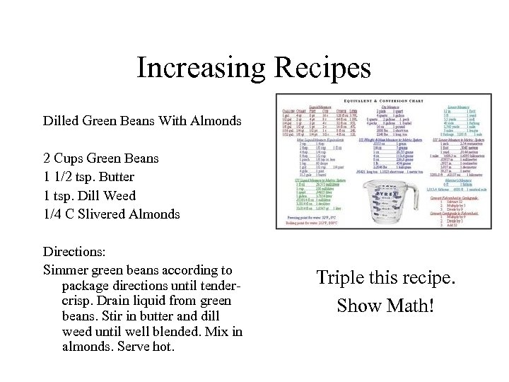 Increasing Recipes Dilled Green Beans With Almonds 2 Cups Green Beans 1 1/2 tsp.