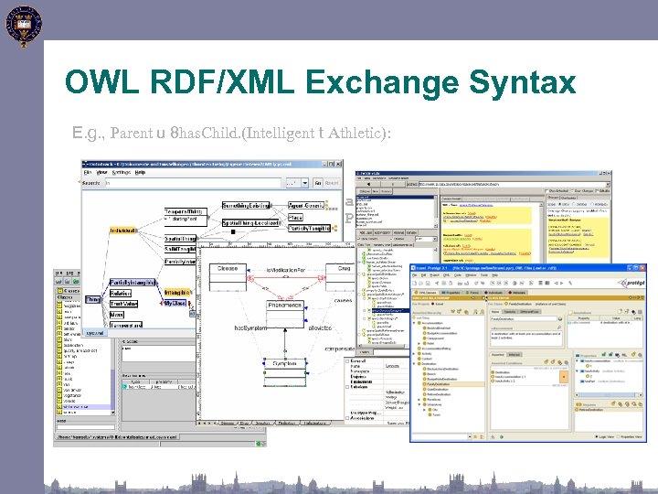 OWL RDF/XML Exchange Syntax E. g. , Parent u 8 has. Child. (Intelligent t