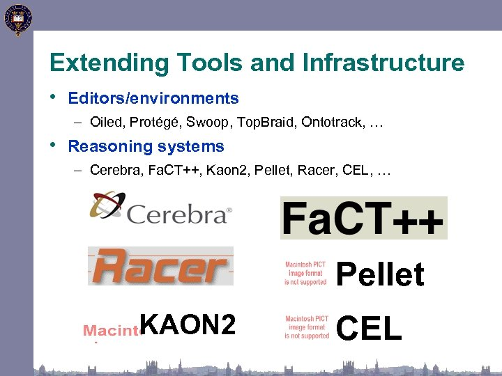 Extending Tools and Infrastructure • Editors/environments – Oiled, Protégé, Swoop, Top. Braid, Ontotrack, …