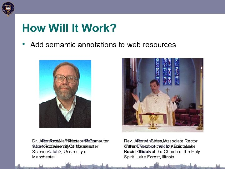 How Will It Work? • Add semantic annotations to web resources Dr. Alan Rector,