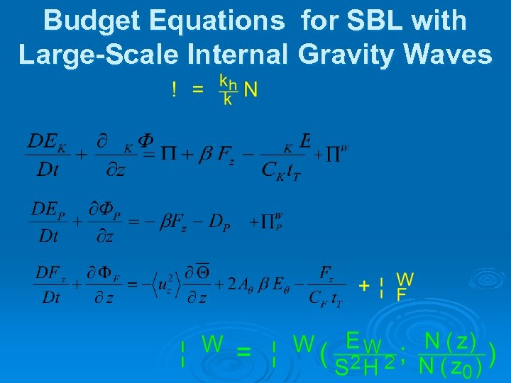Budget Equations for SBL with Large-Scale Internal Gravity Waves