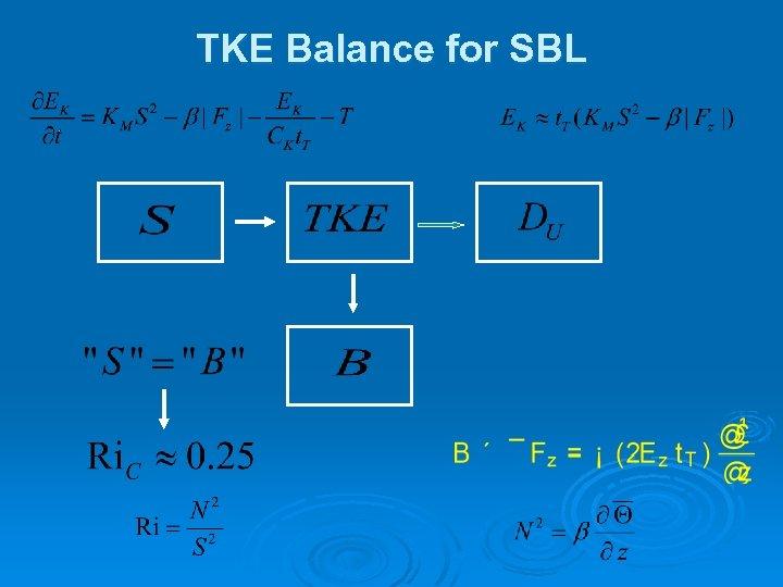 TKE Balance for SBL