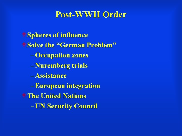 """Post-WWII Order Spheres of influence Solve the """"German Problem"""" – Occupation zones – Nuremberg"""