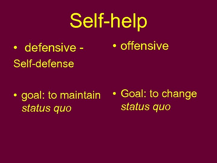Self-help • defensive - • offensive Self-defense • goal: to maintain • Goal: to