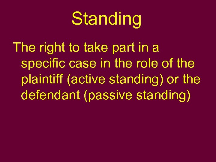 Standing The right to take part in a specific case in the role of