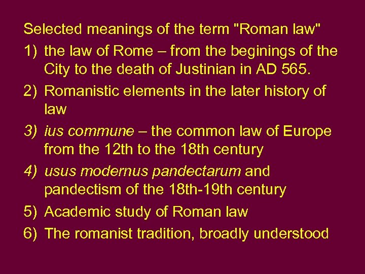 Selected meanings of the term