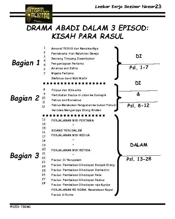 Lembar Kerja Seminar Nomor 23 DRAMA ABADI DALAM 3 EPISOD: KISAH PARA RASUL Bagian