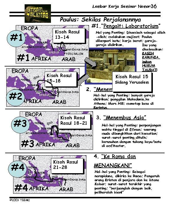 Lembar Kerja Seminar Nomor 36 Paulus: Sekilas Perjalanannya EROPA #1 Kisah Rasul 13 -14